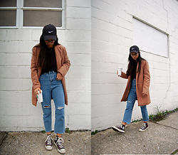 Sheila - New Chic Camel Coat, Zaful Cropped Jeans, Converse Black Sneakers - The Cropped Jean