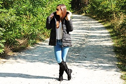 Roksana - Dresslily Coat, C&A Blouse, Lee Jeans, Stukstuk Boots, Tommy Hilfiger Watch, Solaris Sunglases - BLACK COAT - OOTD