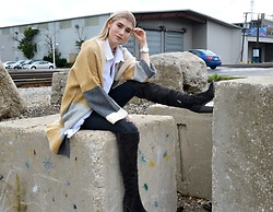 Dani Mikaela McGowan - Topshop Oversized Cardigan, Vince Camuto Over The Knee Boots, Christian Paul Watch, Urban Outfitters White Button Up - Falling for You