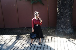 Maë RZF - Rosewholesale Chocker Necklace, Novem & Knight Red Velvet Shirtdress, H&M Belt, Thrifted Pleated Midi Skirt, Pimkie Bag, Primark Black Mules - THE EDGE OF NINETEEN
