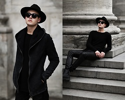 Patrick Pankalla - Gabba Sweater, Diesel Leather Boots, Acne Studios Sunglasses, Gabba Leather Pants, H&M Fedora Hat, Gabba Dark Denim Jacket - Black & Leather