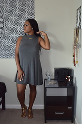 Janai Lourdes - Forever 21 Gold Spike Heels, Pacsun Grey Sundress - Grey and Gold