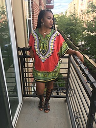 Janai Lourdes - Ragstock Dashiki, Shoedazzle Black Gladiator Sandals - Doing it for the Culture