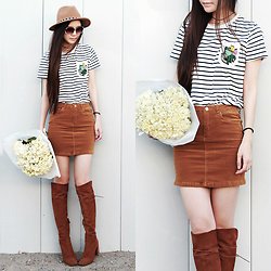 Yuzi Katrina - Zaful Striped Pocket Round Neck Short Sleeve T Shirt, Zara Boots - Striped Pocket T-Shirt