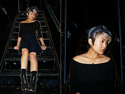 Raiza Vasquez - Urban Outfitters Head Scarf, Off Shoulder Top, Suncoo Knit Skirt, Kensie Booties - Bring Me Back to Earth