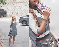 Olga Choi - Mixxo Plaid Check Dress, Romwe Application Bag, Romwe Choker Necklace - Mean girls