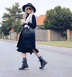 Joicy Muniz - H&M Hat, Urban Outfitters Sunnies, Second Female Vest, Urban Outfitters Dress, Sneaky Fox Socks, Dr. Martens Shoes - Welcome Autumn!