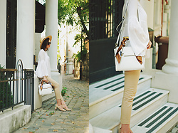 Andreea Birsan - Camel Trousers, Beige Suede Pumps, White Bell Sleeve Top, Vintage Scarf, White Corssbody Bag, Straw Hat, Cat Eye Sunglasses - The camel pants that every woman should own