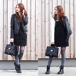 Sarah-M. - Stradivarius Black Jeans Dress, Osprey London Black Bag, Dr. Martens Boots - Grunge Prep