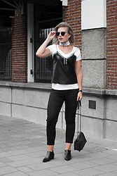 Rowan Reiding - Kendall+Kylie Violet Boots Pointy Shoes, H&M Black Slacks, Asos White Bandana Neckerchief, Zara Faux Leather Lace Cami Top - DRESS IT DOWN WITH A T-SHIRT