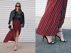 Taylor Smith - Brandy Melville Usa T Shirt, Topshop Leather Jacket, Chloe Faye Bag, Romwe Skirt, Steve Madden Heels - Stripes and a Vintage Tee