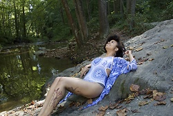 KaiaCeline R. - Black Milk Clothing Tangled Up In Blue Miami Suit, Black Milk Clothing Tatsu Kimono - By The River