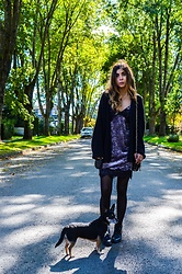 Maria P - Mexx Black Oversize Cardigan, Topshop Velvet Slip Dress, Mango Studded Bag, Joie Black Combat Boots - Velvet Slip Dress