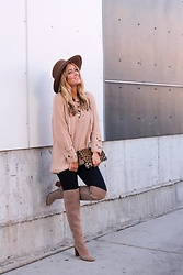Amber Wilkerson - Chic Wish Sweater, 7 For All Mankind Denim, Franco Sarto Boots, Clare V Clutch, Hinge Hats - Cozy Fall Sweater