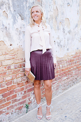 Taylor Reese - Who What Wear Tie Neck Blouse, J.Crew Pleated Mini Skirt, Bauble Bar Floral Drop Earrings, Sheinside Lace Up Sandals - Pretty in Pleats