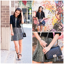Kimberly Kong - Bcbg Black Crop Top, Bcbg Fluted Skirt, Guilty Soles Block Heels, Chanel Boy Crossbody Bag, Jwholesale Statement Necklace - Let's Get Our Graffiti On
