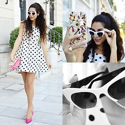 Marina Mavromati - Choies White Polka Dot Print Skater Dress, Choies White Chunky 3/4 Frame Retro Cat Eye Sunglasses, Choies Daisy Earrings, Bjornberry Cosmetics Watercolor Clear Iphone Tpu Case - Do The Polka!