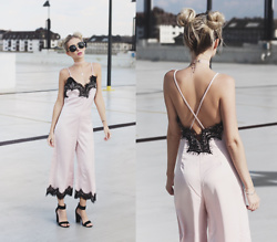 Chloe From The Woods - Sheinside Pink Spaghetti Strap Appliques Criss Cross Backless Jumpsuit - DAYS IN ROSE SATIN