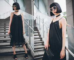 Samantha Mariko - Ozoc Dress, Zerouv Sunglasses, Asos Mules, Ted Baker Bag, Asos Choker - Black lace dress