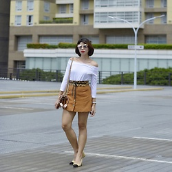 Cassey Cakes - Zara Off Shoulder Top, Mango Leopard Belt, H&M Buttondown Skirt, Mango Bag, Zara Two Tone Block Heel - Elevated