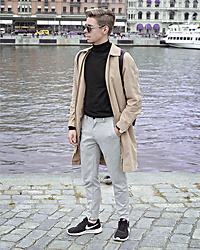 Edgar - Asos Camel Overcoat, H&M Black Roll Neck Sweater, Zara Grey Cropped Pants, Nike Black Sneakers, Black Framed Optical Glasses, Daniel Wellington Brown Leather Watch - STEPPING INTO NEW SEASON