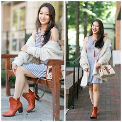 Kimberly Kong - Modcloth Striped Dress, Amiclubwear Oversized Knit, Cat Footwear Cowboy Boots, Dooney & Bourke Vintage Crossbody Bag - Getting Cozy in an Oversized Knit
