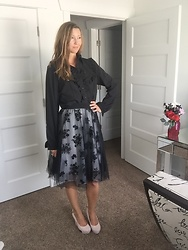 Cindy Batchelor - Choies Black Lace Floral Overlay Skirt, Fir Pearl Black Ruffled Button Down - Black Button Down and Floral Overlay Skirt