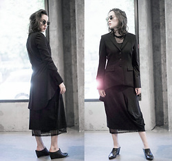 Ama Hatheway - Rundholz Black Label Avant Garde Maxi Midi Asym Dress, Emerson Fry Black Mesh Crew Neck Dress, Isabel De Pedro Black Frock Suit Blazer Jacket With Tails, Vagabond Shoes Black Wedge Mules, Giorgio Armani Vintage Tortoise Shell Round Sunglasses - Tails
