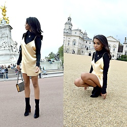 Daphne Blunt - Are You Am I Gold Slip Dress, Velvet Ankle Booties, Gucci Monogram Shoulder Bag, Chanel Pearl Cc Necklace, Theory Black Turtleneck - Sightseeing In London