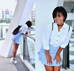 Clair De Lune Wild Rose - Forever 21 Baby Blue Checkered Skirt, H&M Faux Leather Bag, Galstar White Heels - Sparkle