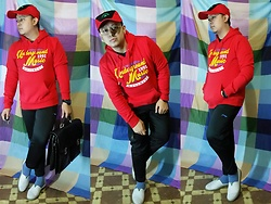 Lee Uno Ong - Comic Alley Pokemon Cap, Iconic Cotton Red Sweater, Li Ning Black Jogger Pants, Celio Blue Cotton Casual Socks, Native White Rubber Sneakers, Carpisa Black Leather Suitcase - UNDERGROUND MUSIC 1991