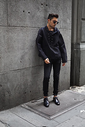 Phil Valles - Sacai Hoodie, Allsaints Denim, Balenciaga Shoes - Dark Knight
