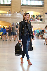 Anik L.R. - Rudsak Leather Jacket, Rudsak Leather Backpack, Joe's Jeans, Aldo Pink Heels - Grand Central Station