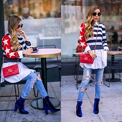 Sasa Zoe - Sweater, Bag, Jeans, Boots, Sunglasses - COFFEE BREAK