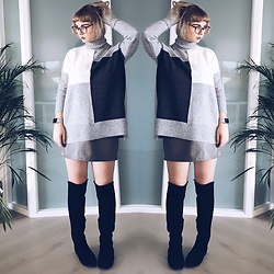 Emily P - River Island Block Turtle Neck Jumper, Primark Faux Leather Skirt, Faith High Knee Suede Boots - Letters To Ghosts