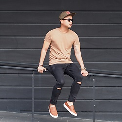 DADA FAB - Brxtn Green Cap, Asos Muscle T Shirt With Crew Neck, Alcott Black Super Skinny Jeans, Zalora Faux Leather Slip Ons, Sunnies Sunglass - Matching in Earth Tones