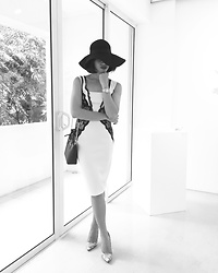 Cassey Cakes - Dorothy Perkins Dress, Dorothy Perkins Shoes, H&M Floppy Hat - Monochromatic Thoughts