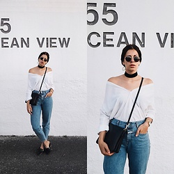 SCHWARZER SAMT - Weekday Blouse, Closed Mom Jeans, Topshop Mules, Asos Choker, C&A Trio Lookalike - 155 OCEAN VIEW