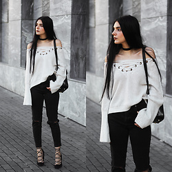 CLAUDIA Holynights - Sheinside Lace Up Sweater, Vipme Backpack, Vipme Bag - Lace up sweater