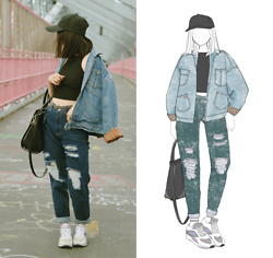 Yonish - Zaful Baseball Cap, Boohoo Boyfriend Ripped Jeans, H&M Leather Bag, Saucony Sneakers - Denim on denim