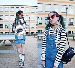 Ola Brzeska - Zaful Red Glasses, New Look Overall Skirt, Stradivarius Mini Backpack, Zaful Black And White Striped Hoodie, House Socks, Converse Converses - School girl