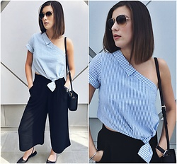 Aleksa Goldfield Rodrigues - Aritzia Culottes, Nine West Black Sling Back Flats, Zara Blouse, Ray Ban Aviator Sunglasses (Aviator Gradient), Katespade Black Purse - Comfy Culottes