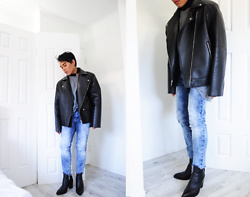 Karl Philip Leuterio - Ann Demeulemeester Pointed Boots, Jeanswest Denmi, Leather Biker, Champion Grey Shirt - Youthquake