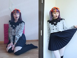 Lindwormmm - I Heart No Name Ginger Bread Collar Shirt, Thrifted Pleated Skirt, White Tights, Black Over Knee High Socks, Neon Orange Ribbon - Ash Berries