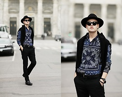 Patrick Pankalla - Diesel Shoes, Matinique Leather Belt, Tiger Of Sweden Trousers, Diesel Sweater, Acne Studios Sunglasses, H&M Fedora Hat, Diesel Shirt W Print - Copenhagen