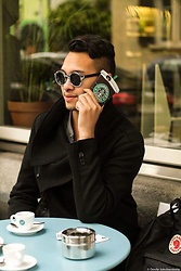 Jamesandthecity Glenn Hug - Zara Black Coat, Marc Stone Shades, Iphone 6s Case - On the Phone