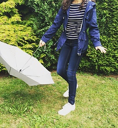 The Deep Style - Zara T Shirt With Stripes, Colin's Rain Jacket, Only Jeans - Me Against Rain And Storm?