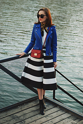 Andreea Birsan - Cat Eye Sunglasses, Scarf, Top, Blue Leather Jacket, Burgundy Crossbody Bag, Striped Midi Skirt, Leather Ankle Boots - Blue leather jacket & striped midi skirt  II