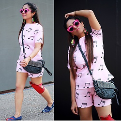 Surbhi Suri - Top And Shorts, Coords, Platinum Mall Bangkok Shoes, Platinum Mall Bangkok Bag, Sunnies, Earrings - Music is the answer - To ur problems