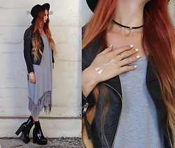 Liza LaBoheme - Grey Tassled Dress, H&M Faux Leather Jacket - A vow of silence